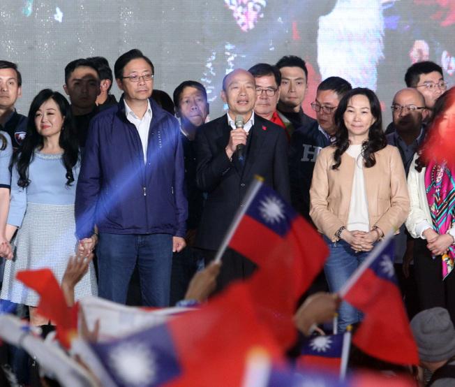 國民黨總統候選人韓國瑜上台宣布敗選。記者劉學聖/攝影