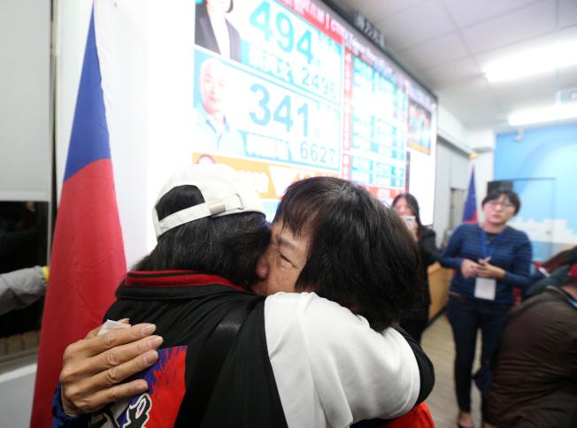 韓國瑜高雄總部昨天有許多支持者聚集,大家不滿選舉結果,有人黯然落淚。記者劉學聖/攝影