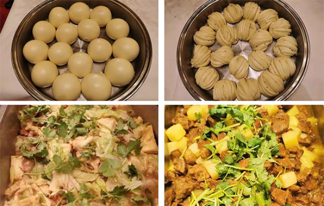 中國野戰炊事車端上的餐點,包括:馬鈴薯燉牛肉、白菜燉豆腐、蒸饅頭、大花卷。(取材自澎湃新聞)