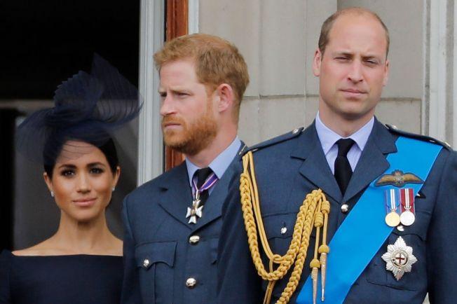 國威廉王子(右起)、哈利王子與妻子梅根。圖╱GettyImages