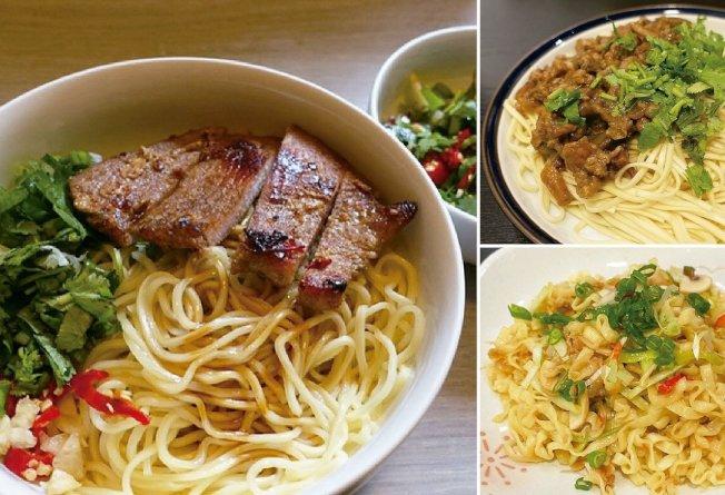 豬排乾拌麵(左)、客家炸醬乾麵(右上)、炒泡麵(右下)。圖/太陽臉