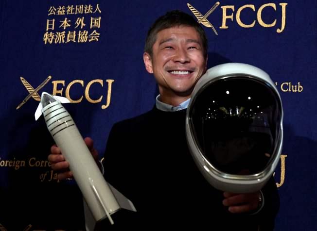 圖為日本億萬富豪前澤友作公開徵求願意和他一同前往月球的女友。Getty Images