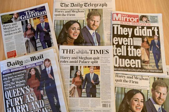 哈利王子夫婦閃電宣布退出王室活動,引發英國王室家庭危機,成為世界焦點,倫敦報章13日都是頭版封面報導。(Getty Images)