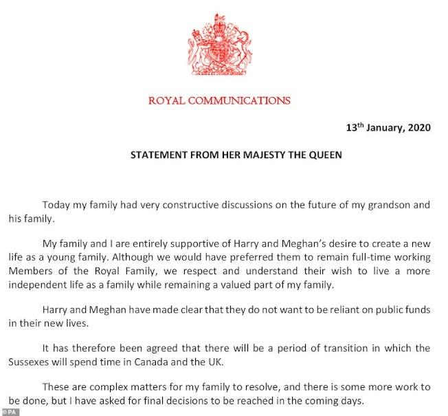 女王發表聲明支持哈利王子夫婦的選擇。 (美聯社)