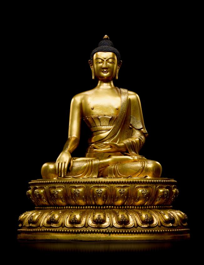清康熙 御製銅鎏金釋迦摩尼佛。