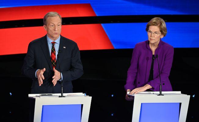 億萬富豪史泰爾(左)和參議員華倫。(Getty Images)