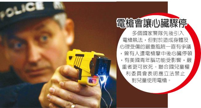警方正研究在日常裝備中引入電擊槍。圖為示意圖。(美聯社資料照片)