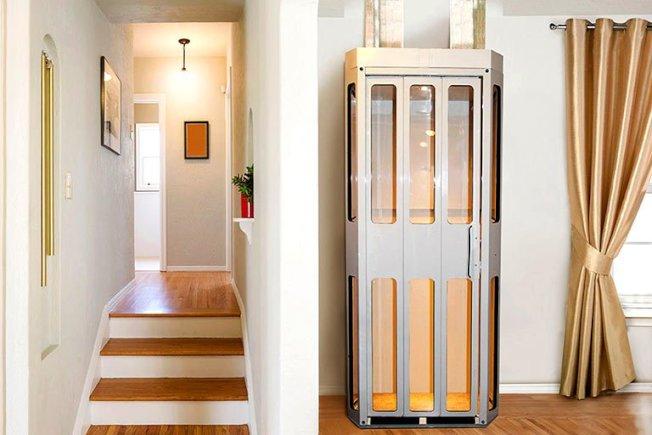 有一些商家專門生產家中使用的迷你電梯,不僅小巧,也不需安裝電梯井和機室。(取自電梯製造商Easy Climber官網)