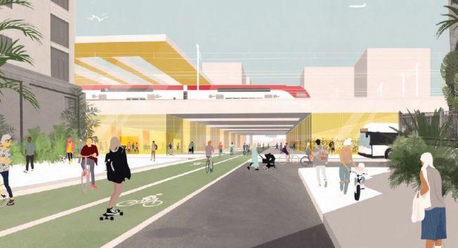 發展商去年底公布的德瑞登發展藍圖,車站的上層是火車列車,地下是巴士線,車站有寬敞的空地,供居民使用。(圖:發展商設計圖)