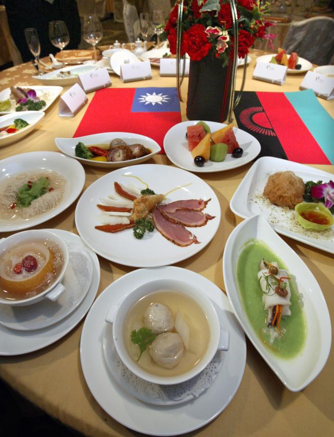 陳水扁總統的國宴菜色本土色彩濃厚。(本報資料照片)