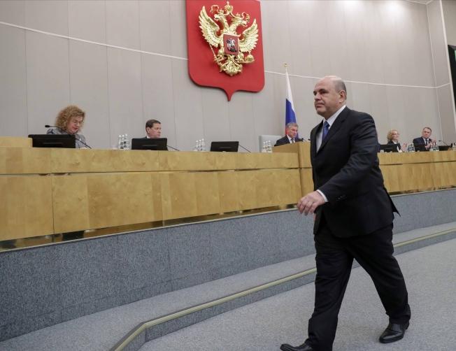 俄羅斯國會以383票贊成0反對票,支持總統普亭挑選的新總理米舒斯京。(美聯社)