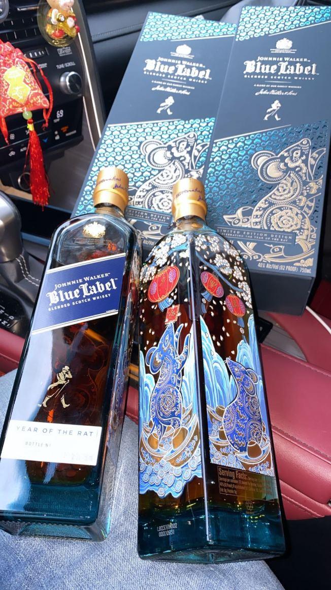 Johnnie Walker藍方的羊年生肖酒。(記者張晨/攝影)