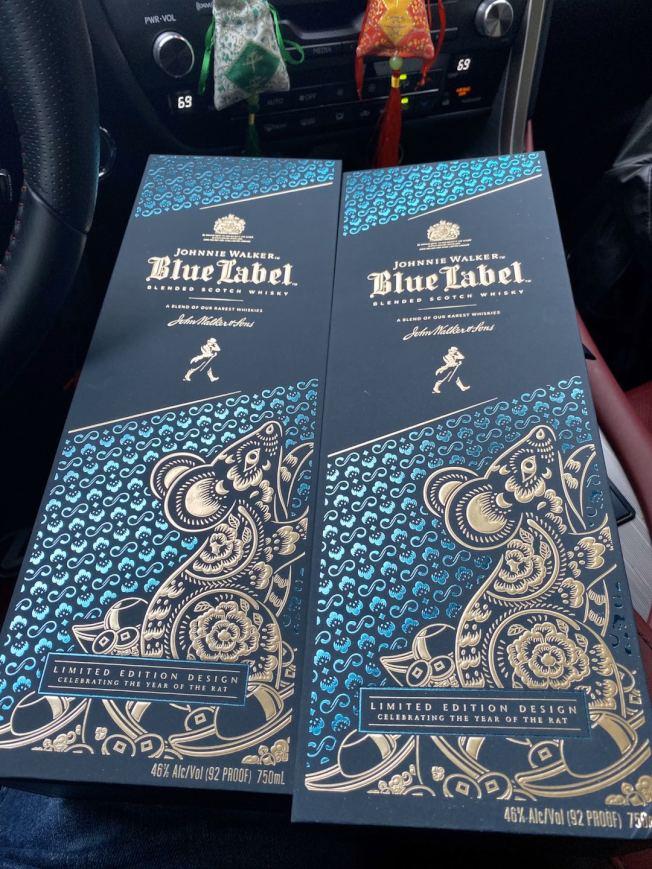 Johnnie Walker藍方鼠年限量酒。(記者張晨/攝影)