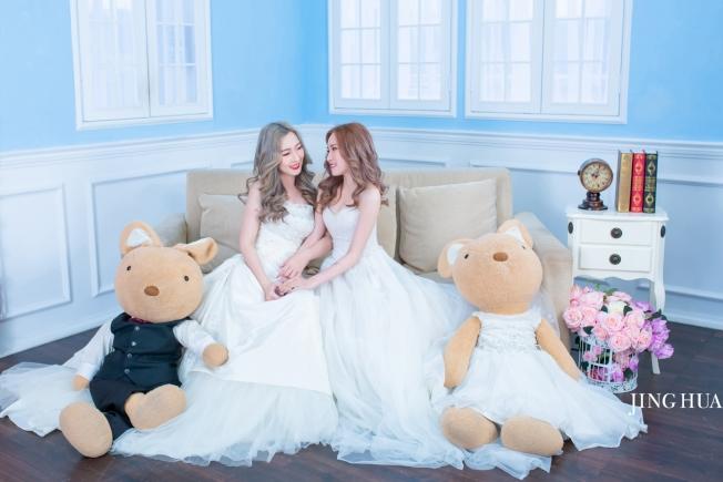 京華婚紗指出,拍婚紗寫真不一定只限伴侶,單身女性或一群好姊妹也可走進婚紗店,記錄最美時刻。(圖:京華婚紗提供)