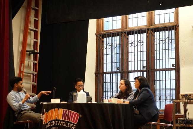 Pinto(左起)、Ortiz、Guerra討論科技對人口販賣的影響。(記者金春香/攝影)