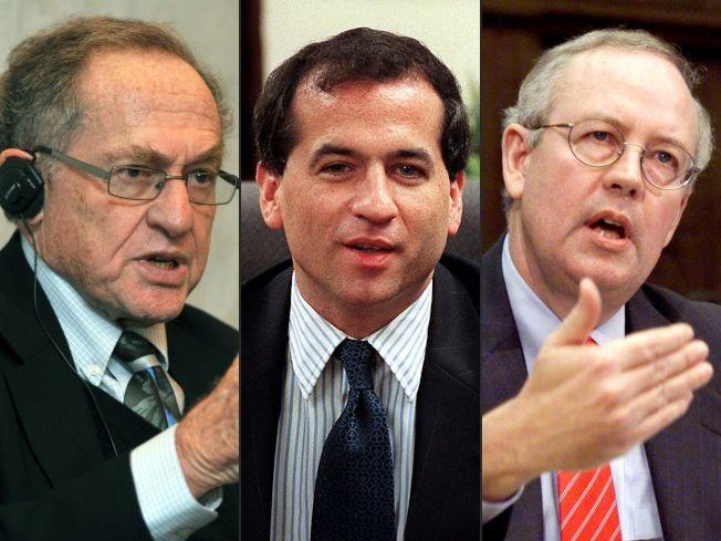 川普彈劾案的辯護團隊擴,新增的明星成員包括辛普森案律師德修維茲(左起)、20年前接替史達位置的前獨立檢察官雷伊、曾調查前總統柯林頓的前獨立檢察官史達。(Getty Images)