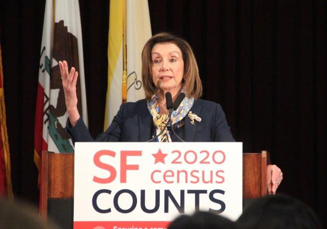 彈劾總統案進行中,波洛西回到舊金山參加人口普查活動。(記者李晗 / 攝影)