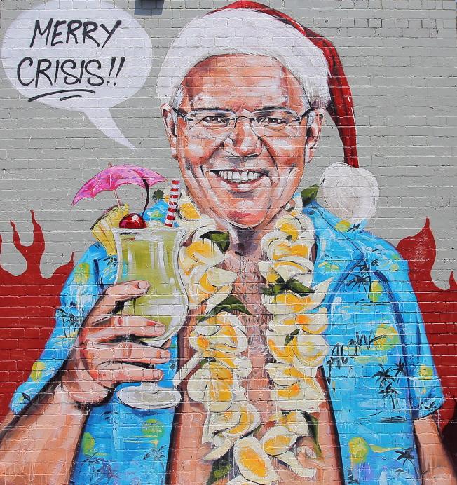 澳洲野火帶來浩劫,墨爾本街頭也出現許多諷刺莫里森處理不力的壁畫。(歐新社)
