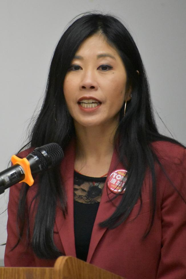 第18席法官候選人華裔唐加玲。(記者李秀蘭/攝影)