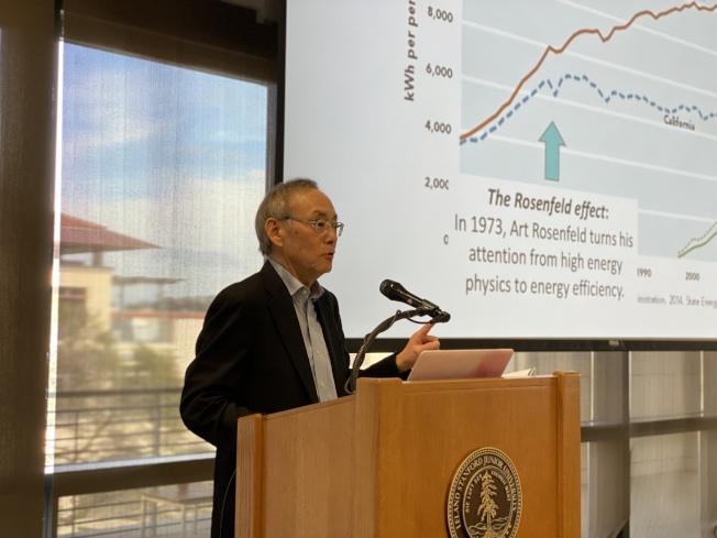 朱棣文表示,清潔能源和低碳排放對人類生存、地球永續至關重要。(記者林亞歆/攝影)