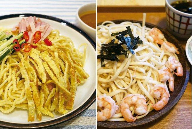 三絲涼麵(左)和日式冷麵都能品嘗到麵香。圖/太陽臉