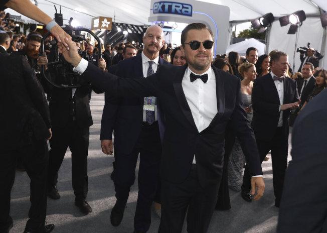 李奧納多狄卡皮歐到達演員工會獎。(美聯社圖片)