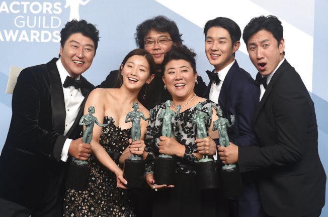 南韓電影「寄生上流」摘得第26屆演員工會獎最高獎群體表演獎,成為首部獲得此獎外語片。(美聯社)