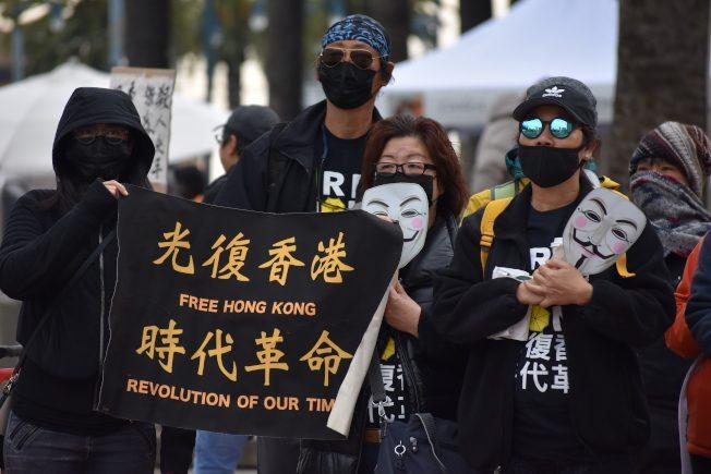 反送中支持者集會金山抵制買中國產品