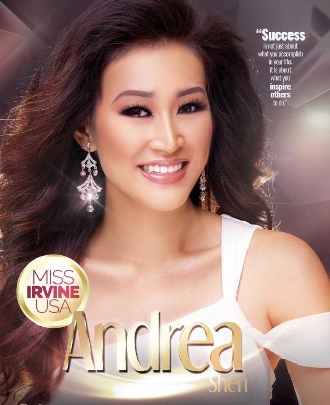 爾灣華裔二代沈逸童(Andrea Shen)1月26日將再次參賽 「加州小姐選美」。(沈母蘇珊提供)