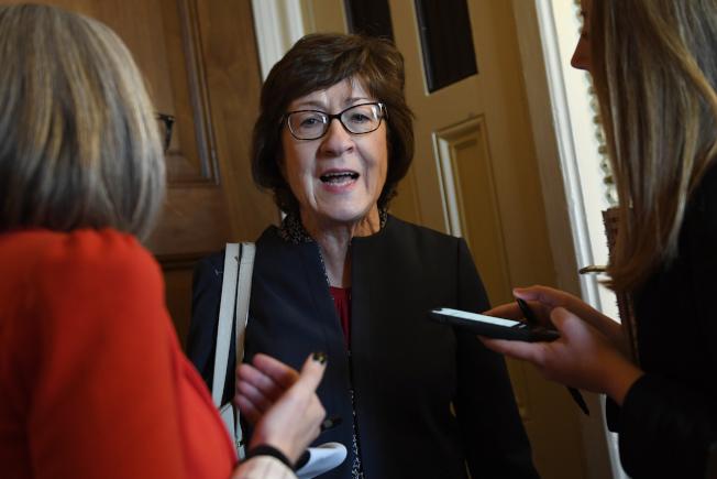 共和黨參議員有多人可能會支持參院傳訊新的證人,例如來自緬因州的參議員柯林斯。(美聯社)