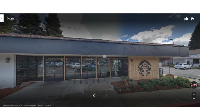 聖瑪莉學院學生在東灣莫拉卡星巴克咖啡店前槍傷前女友後自殺未遂。(取材自Google地圖)