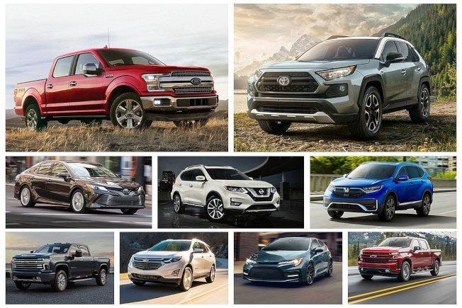 2019年美國乘用車銷售排行榜Top 10,已形成皮卡與休旅兩大競爭級距。 圖/各車廠提供