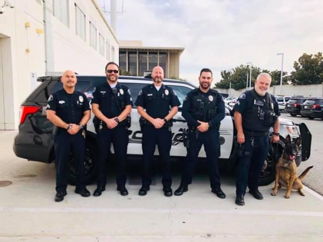 阿罕布拉市警局警員、警車與警犬。(阿市警局提供)
