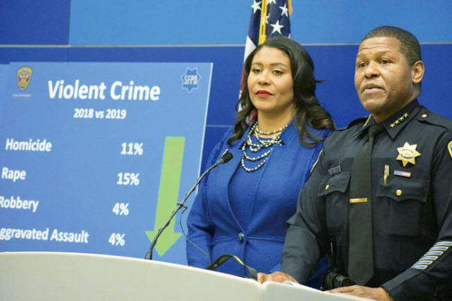 市長布里德(左)及警察局長史考特公布2019年犯罪率,各項罪案全面減少。(記者李秀蘭/攝影)