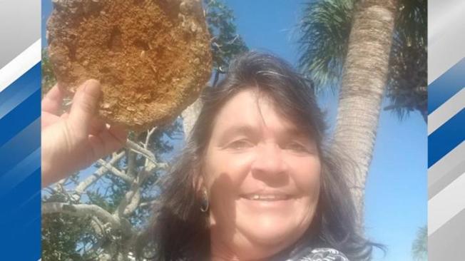 佛州女子威爾森去年4月在海岸線上發現一塊瓷盤,以為撿到寶,最後才知道原來是二戰時所留下的地雷。(CBS12電視台截圖)