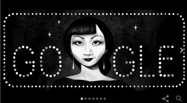 美國好萊塢第一位華裔女演員黃柳霜,是今天谷歌網頁的代表人物。(google截圖)