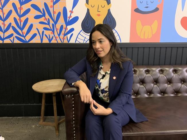 市議員利華娜22日向華裔社區拜年,並回顧過去一年工作。(記者和釗宇/攝影)