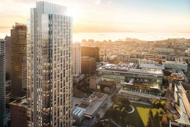 舊金山新建的「四季大廈」,位於米慎街706號,離開金州勇士的大通球場,只有兩哩,柯瑞步行就可抵達。(取自推特)