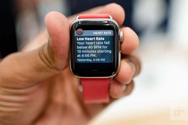 圖中的蘋果表顯示一名手表使用者的「低心跳率」,每分鐘的心跳跌至40以下,且這種低心跳率持續了10分鐘。(Getty Images)