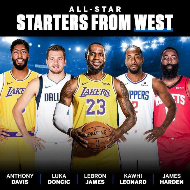 NBA明星賽西區由詹姆斯(中)領軍。(取材自SportsCenter推特)