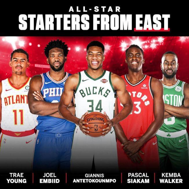 NBA明星賽東區由字母哥(中)領軍。(取材自SportsCenter推特)
