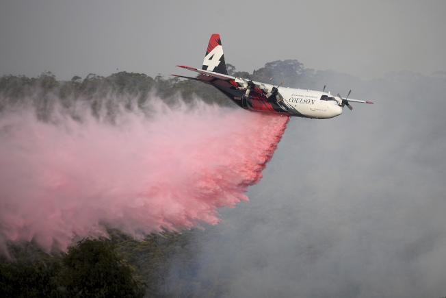 加拿大公司一架C-130式力士型消防飛機23日在澳洲山區協助撲滅野火時墜毀,機上3名美國消防員全數罹難。圖為一架消防飛機協助滅火。(美聯社)