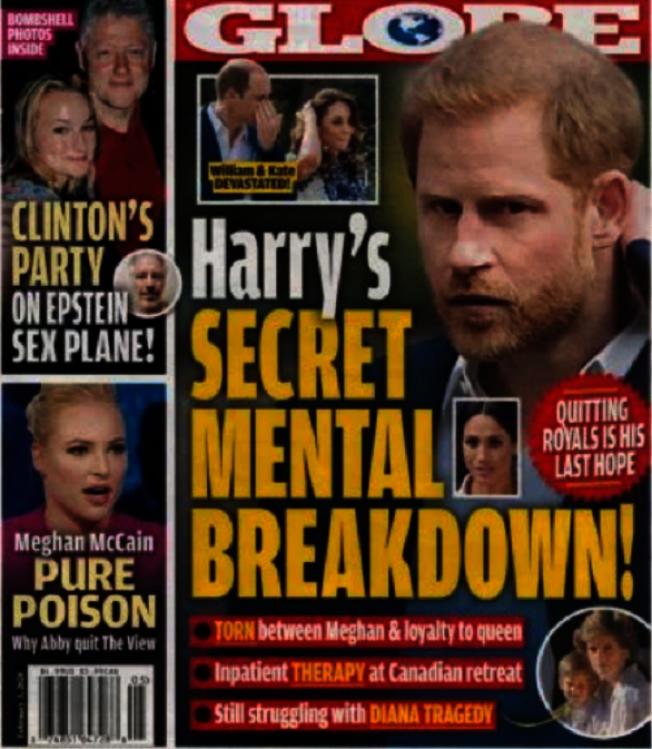 歐美雜誌以封面報導指哈利王子已情緒崩潰。圖/摘自Globe