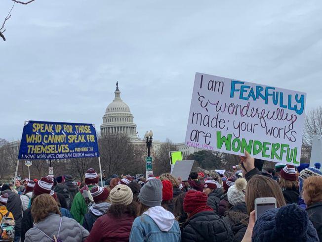第47屆反墮胎「為生命遊行」24日在華盛頓特區舉行,逾10萬民眾參加。(記者張筠 / 攝影)