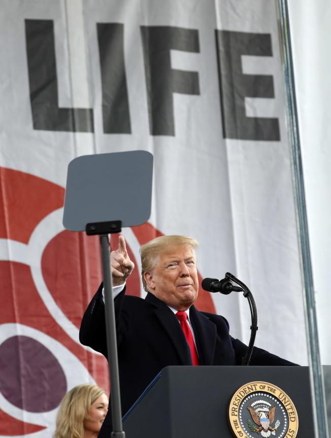 川普總統參加在華府舉行的「為生命遊行」,表達反墮胎立場。(歐新社)