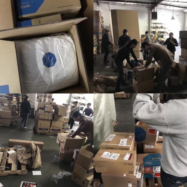 飛洋快遞蒙市店舖收集的物資將被打包運往中國。(讀者提供)