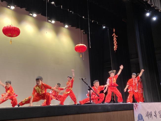 專業武術團體在2020年農曆新年聯歡晚會上表演。(記者謝雨珊/攝影)