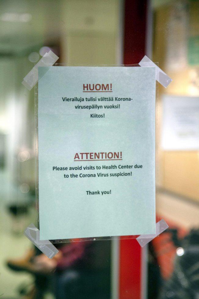 擔心武漢肺炎入侵,芬蘭已貼出警示。(美聯社)