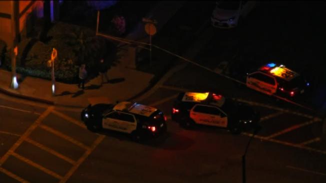 阿罕布拉市24日晚農曆除夕吃年夜飯之際,在第二街發生雙屍槍擊命案,亞裔兇手已被捕。(KTLA電視台)
