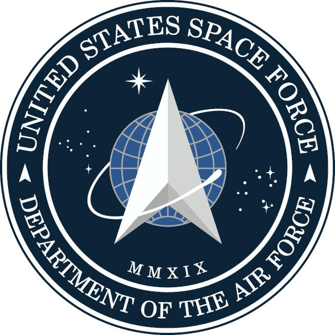 川普總統公布美國太空軍標誌。(路透)